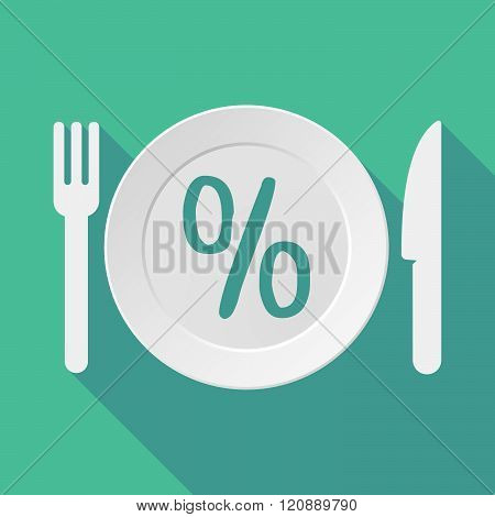 Long Shadow Tableware Illustration With A Discount Sign