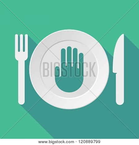 Long Shadow Tableware Illustration With A Hand