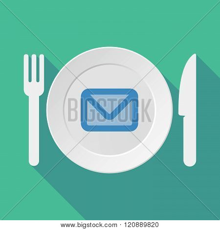 Long Shadow Tableware Illustration With An Envelope