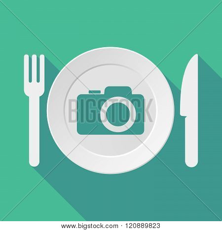 Long Shadow Tableware Illustration With A Photo Camera