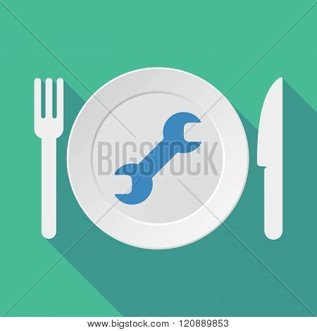 Long Shadow Tableware Illustration With A Wrench