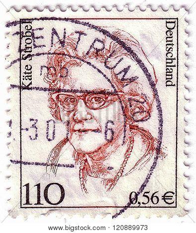 Germany - Circa 2000: Stamp Printed In Germany Shows Kate Strobel, Politician, Circa 2000.