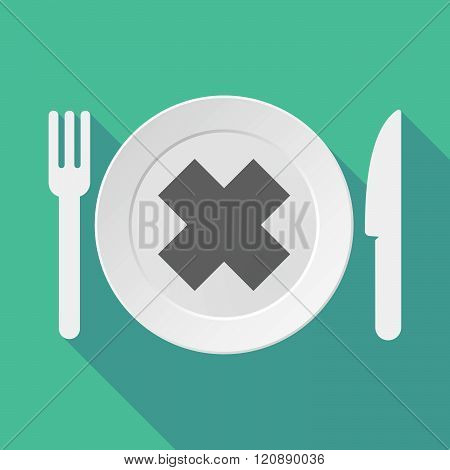 Long Shadow Tableware Illustration With An Irritating Substance Sign