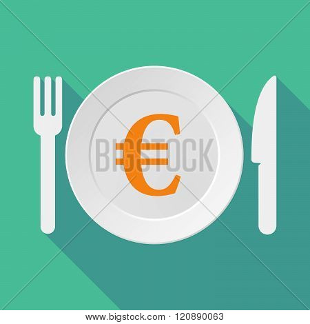 Long Shadow Tableware Illustration With An Euro Sign