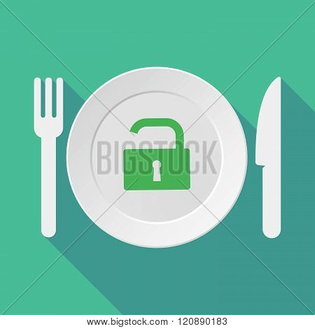 Long Shadow Tableware Illustration With An Open Lock Pad