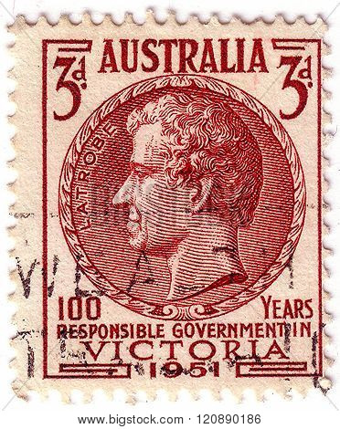 Australia - Circa 1951: A Stamp Printed In Australia Shows Charles Joseph La Trobe, Was The First Li