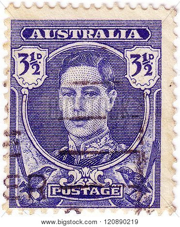 Australia - Circa 1942: A Stamp Printed In Australia Shows Portrait Of King George Vi, The Series Ki
