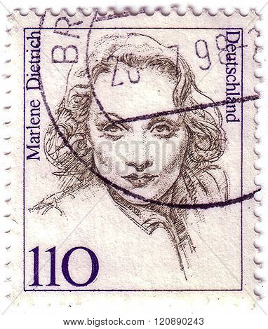 Germany - Circa 1986: A Post Stamp Printed In Germany Shows A Portrait Of Marlene Dietrich, The Seri
