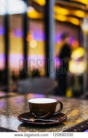 Espresso Coffee Cup In Cafe At Night