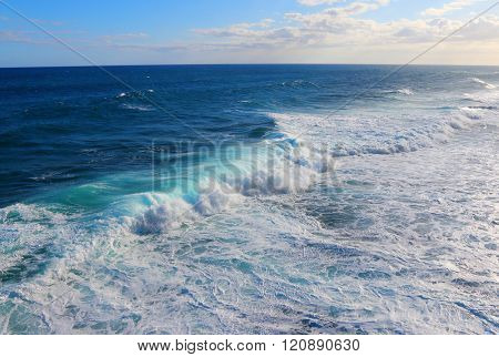 Ocean Wave. Natural background from Indian ocean on Mauritius coast.