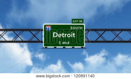 Detroit Usa Interstate Highway Sign