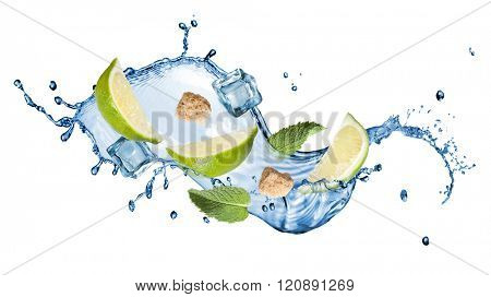 mohito cocktail isolated on white - splash of water, ice, sugar, mint and lime