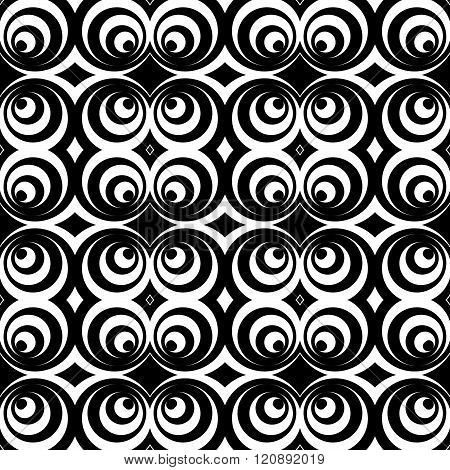 Repeatable Pattern With Circles, Abstract Monochrome Vector
