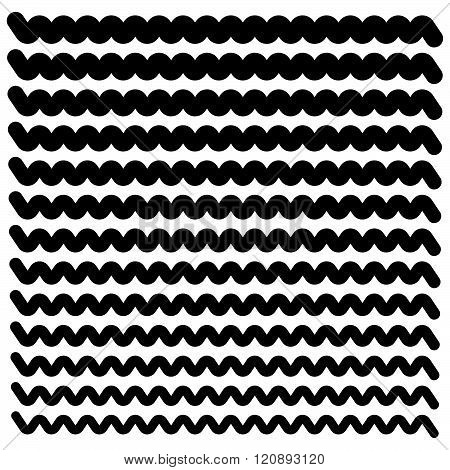 Set Of Wavy (zigzag) Lines From Thick To Thin - Horizontal Dividers