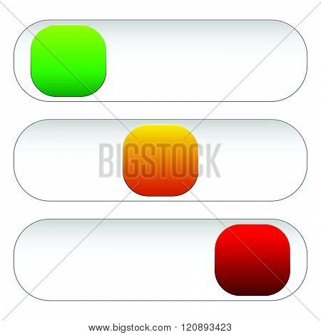 Horizontal Power Button Sliders In 3 States Without Icons.