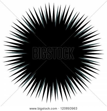 Abstract Bursting, Spiky Shape. Monochrome Vector Design Element.