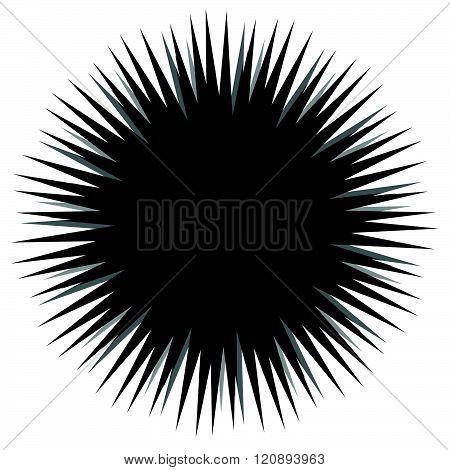 Abstract Bursting, Spiky Shape. Monochrome Vector Design Element.