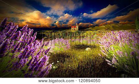 Castle towering 9ver lavender fields