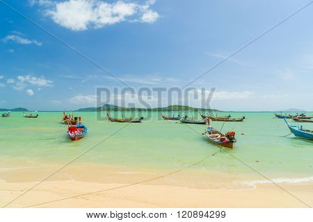 Phuket, Thailand - 25 JANUARY 2016: Long tail boats at the gipsy fisherman village in Rawai  Phuket province Thailand. Phuket January 25,2016