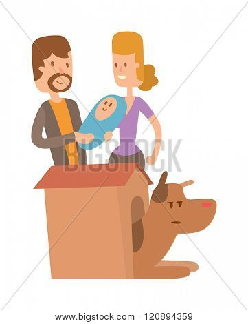 Dog life vector. Set of vector family dog life. Dog family and people family. Cute Dog life. Happy puppy family vector. The dog in the booth. Puppies and family members.