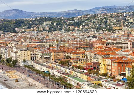 Nice cityscape of historic old town, sea promenade, mountain range