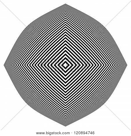 Abstract Monochrome Vector Graphic With Deformation On Squares
