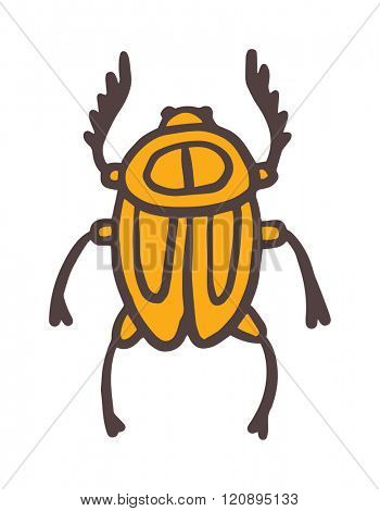 Egypt scarab beetle vector illustration. Egypt scarab beetle isolated on white background. Egypt scarab beetle vector icon illustration. Egypt scarab beetle isolated vector