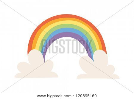 Cartoon rainbow vector illustration. Cartoon rainbow isolated on background. Cartoon rainbow icon. Cartoon rainbow flat style. Vector Cartoon rainbow. Cartoon rainbow modern style