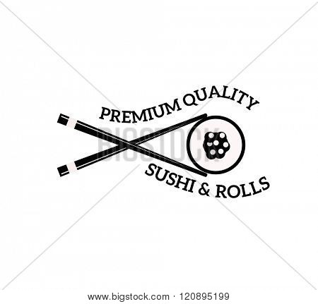 Sushi logo vector illustration. Sushi logo isolated on white background. Sushi logo vector icon illustration. Sushi logo isolated vector. Sushi logo silhouette