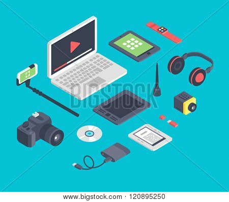 Vector set of isometric designer workplace table devices icons. designer workplace table icons set. Designer workplace table concept. 3d Isometric designer workplace table symbols