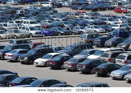 Crowded parking lot in downtown