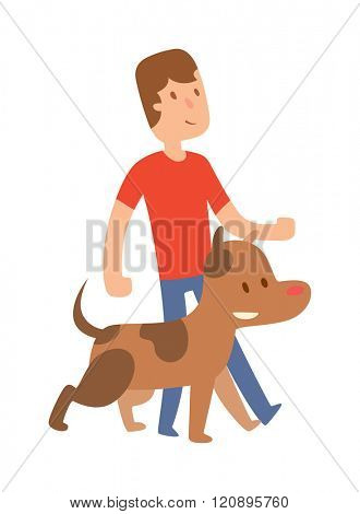 Best friend little boy with dog vector. Friend looking with dog. Boy and brown dog Best friend vector. Best friend cute together. Young Best friend with dog isolated on white background.