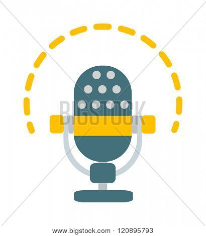 Microphone vector illustration. Microphone vector isolated on white background. Microphone vector icon illustration. Microphone vector isolated. Microphone vector silhouette