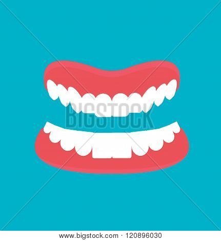 Vector cartoon Dental technology false teeth.