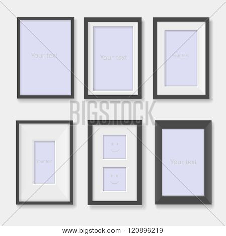 Set of black photo frames on the wall