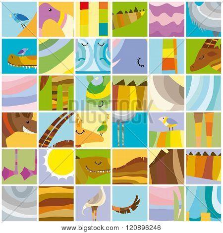 African Animals Random Color Collage