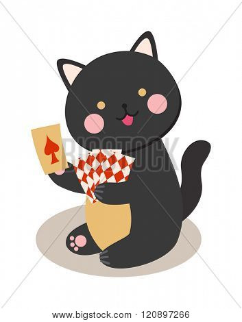 Circus cats vector. Set of cheerful circus cats. Vector illustration for childrens with circus cats. Isolated cartoon cats animals in circus. Cute Circus playing cats.