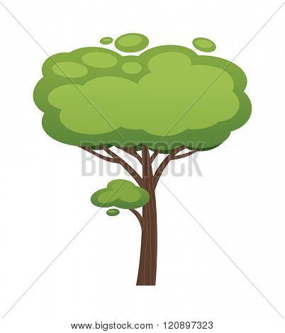 Cartoon tree vector illustration. Cartoon tree isolated on white background. Cartoon tree vector icon illustration. Cartoon tree isolated vector. Cartoon tree symbol