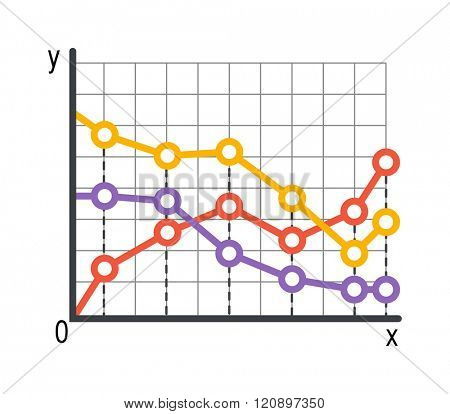 Lined chart graph infographics vector. Various business infographic elements Lined chart for your professional reports and financial data presentation. Lined chart graph concept template.