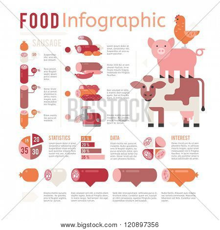 Meat production infographic vector illustration. Meat production infographic isolated on white background. Meat production infographic vector icon illustration. Meat production infographic isolated