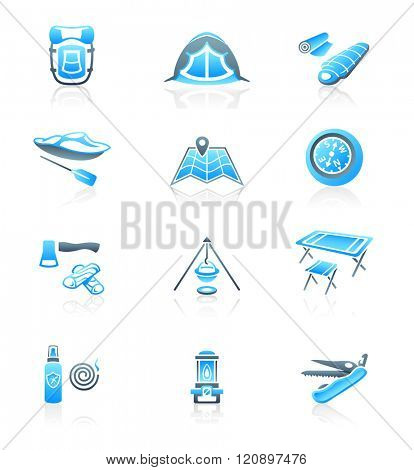 Camping equipment and tools blue-gray icon-set