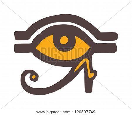 Egypt God Ra vector symbol hand drawn set.