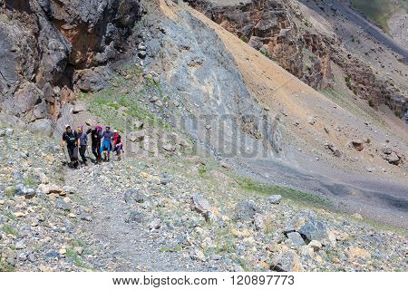 Group of Climbers Hard Walk
