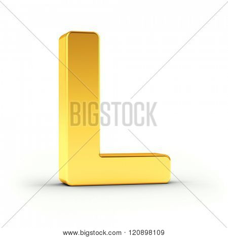 The Letter L as a polished golden object over white background with clipping path for quick and accurate isolation.