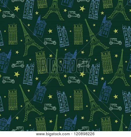 Vector Paris Streets Dark Green Drawing Seamless Pattern with Eifel Tower, houses, cars and stars. P