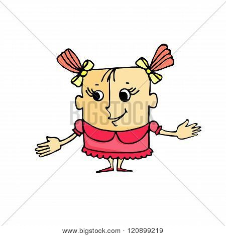 Cartoon Girl With Funny Hairstyle