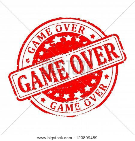Damaged Round Red Stamped - Game Over - Vector