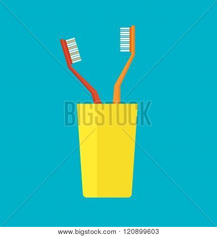 Tooth brush in a yellow cup vector illustration.