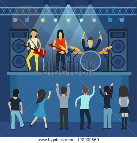 Rock concert  guitar and musician, musical instrument vector  illustration