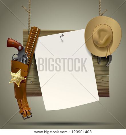Wild West wood signboard with a sheet and cowboy accessories suspended on a rope. Wild West Relay Poster. Contain the Clipping Path